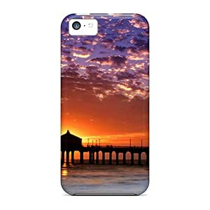 fenglinlinFirst-class Cases Covers For iphone 5/5s Dual Protection Covers Colorful Sky Manhattan Beach Pier