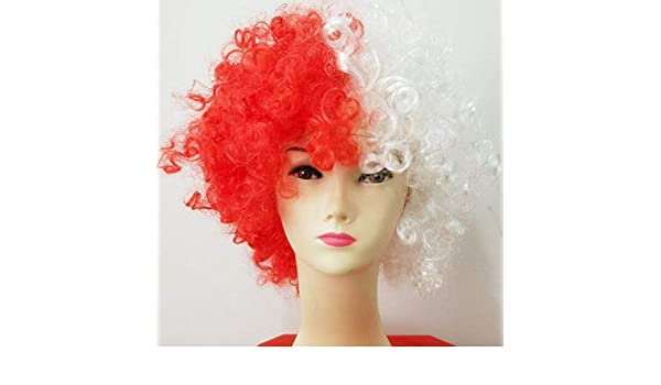 Amazon.com: New Curly Football Fans Clown Cosplay Peluca ...