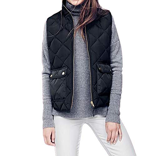 Lazzboy Womens Gilet Jacket Vest Quilted Coat Warm Sleeveless Cotton Solid Dual Pockets Waistcoat Overcoat Outerwear Black