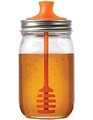 Jarware 82623 Honey Dipper Lid for Regular Mouth Mason Jars, Orange