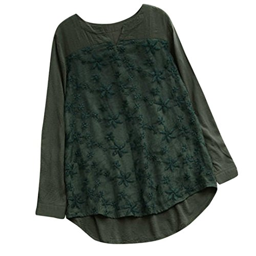 Women Floral Long Sleeve Tops Lace Embroidery V-Neck Loose Baggy Shirt Blouse