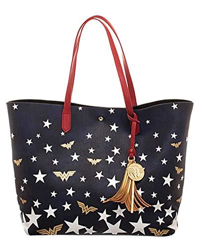 DC Comics Wonder Woman Logo Stars Oversized Tote Bag Purse -