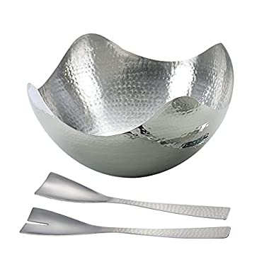 Elegance Silver Hammered Wave 10  Bowl, With Italian Salad Servers