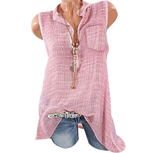 Couleur Fashion Unie Grande Chic Shirt Taille Chemisier Transparent Blouse Dcontract Debardeur Pink Manches Elgante Haut sans Large Mode Femme Et pOPq17g