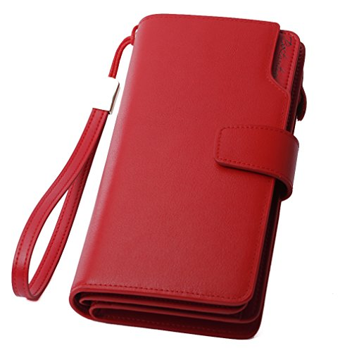BOSTANTEN Womens Leather Wristlet Long Clutch Wallets Zip Cash Card Holder Red