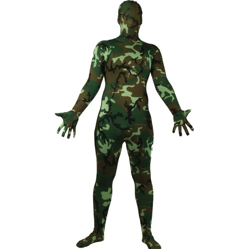 SKINZ CAMOUFLAGE ARMY ALL SIZES ADULT LYCRA COSTUME FANCY DRESS UP PARTY