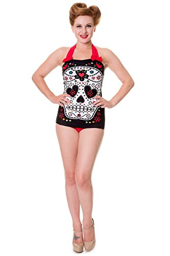 Banned Black Sugar Skull Swimsuit - UK 14 / US 10 / EU 40