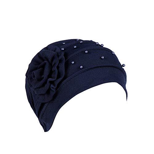 - BCDshop Women Bead India Muslim Hat Cancer Chemo Beanie Floral Turban Wrap Cap Stretch Headwear (Navy, Free Size)