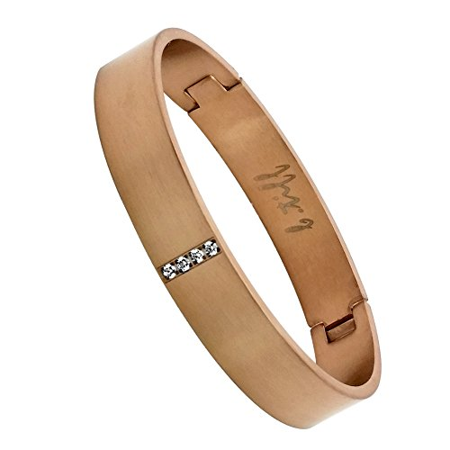 B.Tiff Gold Plated Stainless Steel Pavé Row Bangle Bracelet (Rose Medium) by B.Tiff