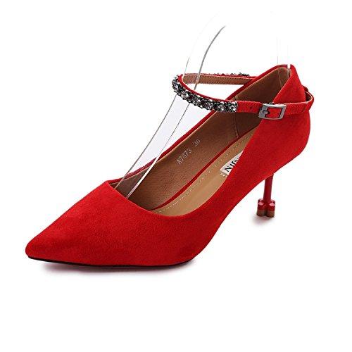 scarpe un di Water High matrimonio gules in singolo la nuova catena fissaggio di di scarpe perforazione sottile asolati in Shallow Heeled rosso punta raso dispositivi autunno KPHY con ORwT4xgnq