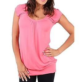 KRISP® Womens Short Sleeve Long Top T-Shirt V-Neck Jersey Blouse