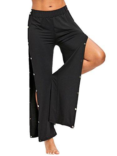 - Nihsatin Women's Elastic Waist Button Snap Closure Wide Leg Trousers Long Palazzo Pants Black
