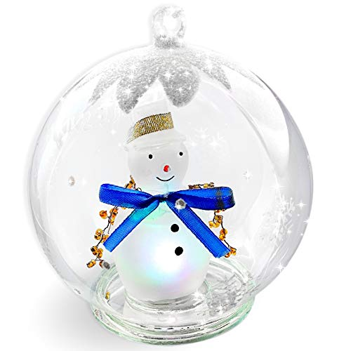 BANBERRY DESIGNS LED Snowman Christmas Ornament Glass Globe Color Changing Hand Painted Snowflakes 5 Inch Diameter