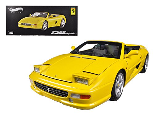 Maisto Hot wheels Ferrari F355 Spider Convertible Yellow Elite Edition 1/18 Car Model by Hotwheels