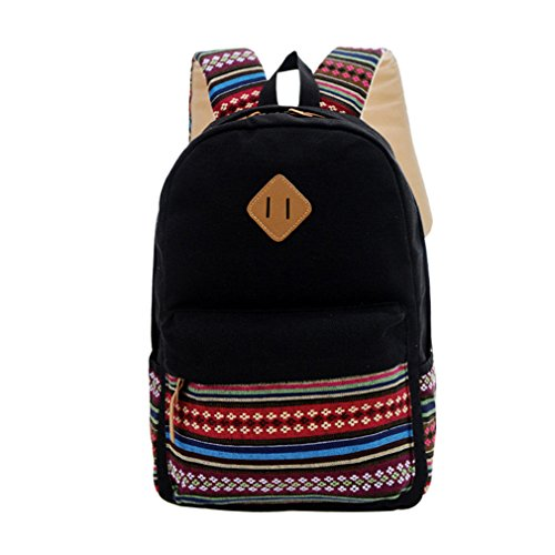 Amazon.com: KKDKXW Canvas Printing Backpack Women School Backpacks Bag For Vintage Backpack Simple Style Backpacks Black: Sports & Outdoors