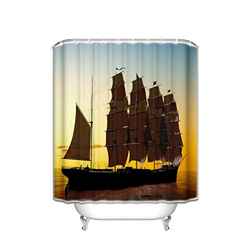Prime Leader Old Pirate Sailboat Sunset Ocean Adventure Merchant Medieval Art Shower Curtain,Extra Long Bath Decorations Bathroom Decor Sets with Hooks Polyester Fabric Shower Curtains 72
