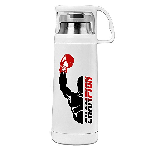 Handson Stainless Steel Vacuum Insulated Insulation Cup Boxing Champion Handled Travel Coffee Mug White (Champions Travel Tumbler)