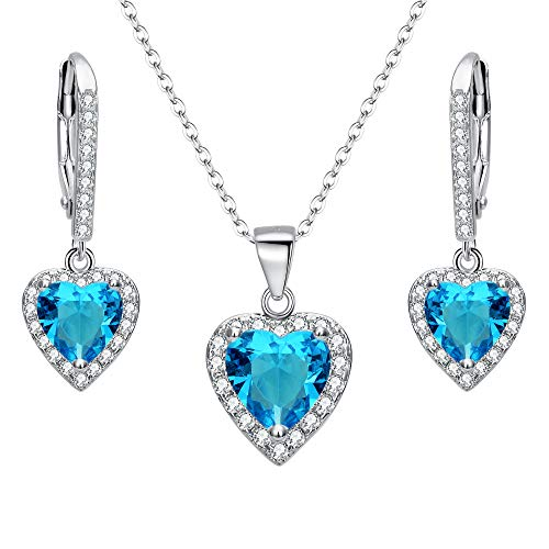 EleQueen 925 Sterling Silver Cubic Zirconia Love Heart Bridal Pendant Necklace Leverback Earrings Set Aquamarine Color