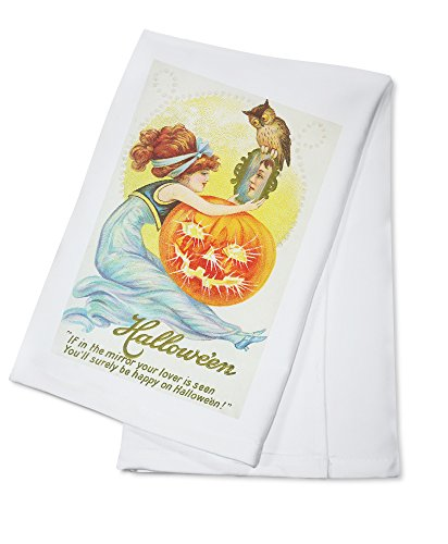 Halloween Scene of Woman Looking at Lover in Mirror (100% Cotton Kitchen Towel)