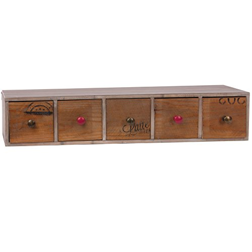 skalny rectángulo madera estantería con 5cajones, 80x 15,9x 14,6cm