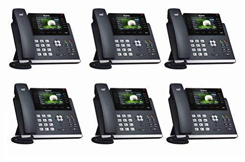 Yealink [6-Pack] T46S IP Phone, 16 Lines. 4.3-Inch Color LCD. Dual-Port Gigabit Ethernet, 802.3af PoE, Power Adapter Not Included (SIP-T46S-6) ()