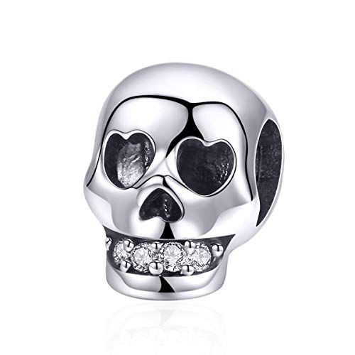 WOSTU 925 Sterling Silver Cool Skull Charm Punk Rock Bead Charm for Bracelets