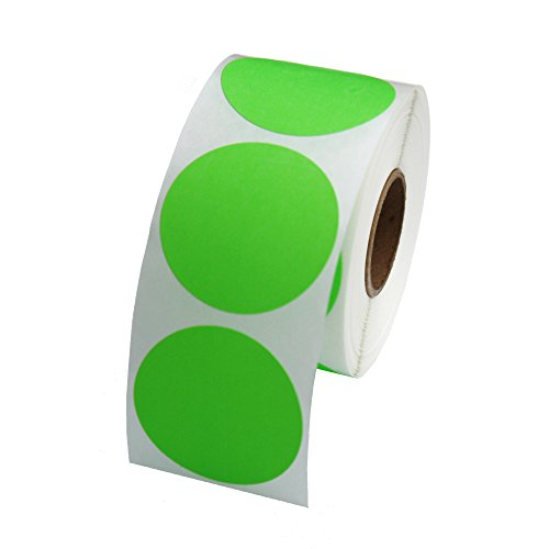 Green Round Color Coding Inventory Labeling Dot Labels / Stickers - 1.5 Inch Round Labels 500 Stickers Per Roll