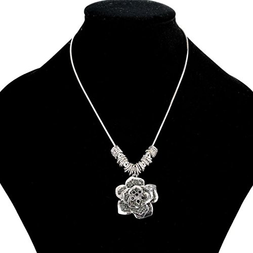 46 Swarovski Crystals Watch (Jewelry/Necklace Odeer 2017 Women Necklaces Exquisite Roses Hollow Chain Sweater Long Chain Necklace (Material:Alloy) : Silver))