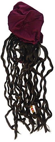 - Rubie's Costume Unisex Burgundy Pirate Bandana with Black Beaded Dreadlocks