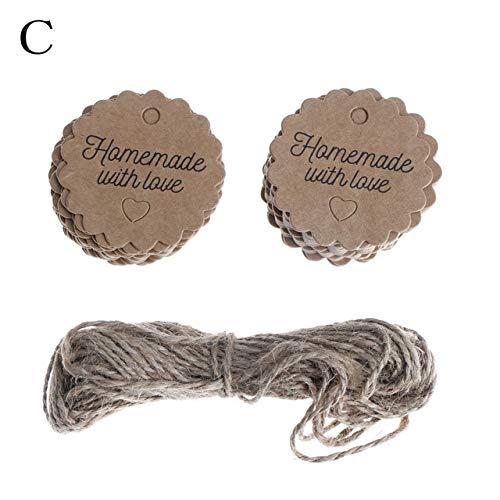 Shoppy Star Tarjeta de papel de la cuerda de la etiqueta del papel de 100pcs Kraft conveniente para el empaquetado del regalo...