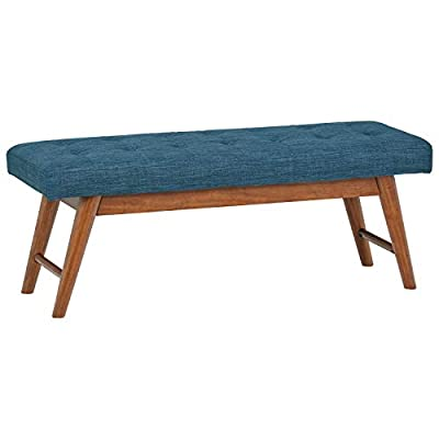 """Rivet Modern Haraden Upholstered Button-Tufted Bench, 44""""W, Navy - This charming, sophisticated-looking bench would be equally at home at the foot of your bed or under a spacious window. The navy-blue button-tufted upholstery makes this as classy as it is comfortable. 44""""W x 16""""D x 17""""H Durable polyester fabric over wood frame; solid wood legs in a walnut finish - entryway-furniture-decor, entryway-laundry-room, benches - 41scNtNMgPL. SS400  -"""