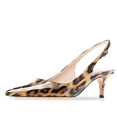 Modemoven Women's Brown Leopard Patent Leather Pointed Toe Slingback Ankle Strap Kitten Heels Pumps Evening Stiletto Shoes - 9.5 M (Slingback Dress Heels)