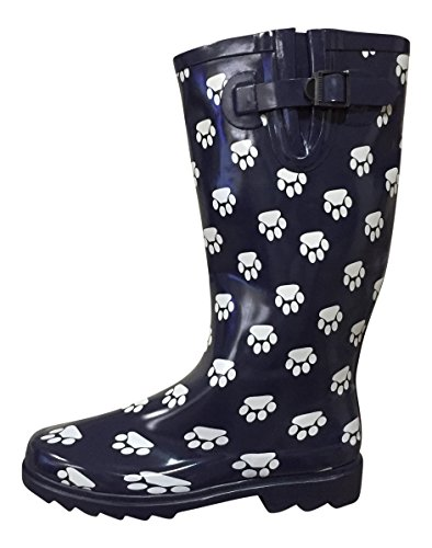 Navy MSTKH Womens PSW Paws Rubber Boots Rain qOx1X