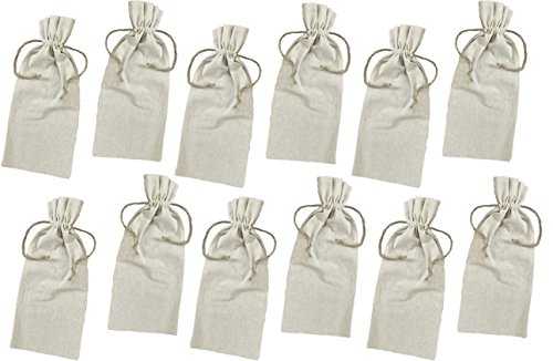 Natural Linen Wine Bags With Drawstrings - 12 Pack by Outside the Box Papers