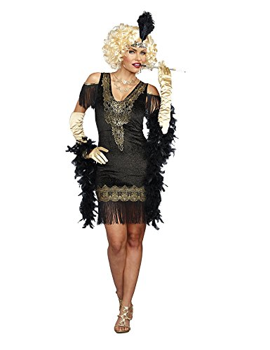Dream Girl Couples Costumes (Dreamgirl Women's Swanky Flapper, Black/Gold, M)