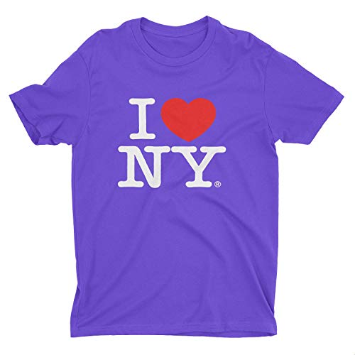 I Love NY New York Kids Short Sleeve Screen Print Heart T-Shirt Purple Small