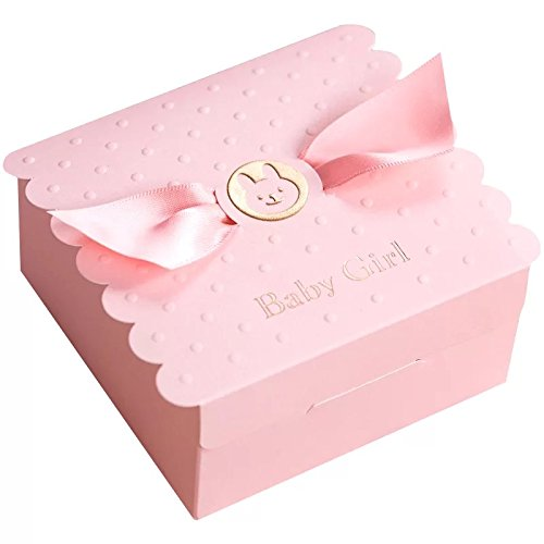Floratek 30 PCS Baby Shower Favors Cute Baby Girl Angel Wings Designed Chocolate Packaging Box Candy Box Gift Box for Kids Birthday Baby Shower Guests Wedding Party Supplies (Pink-Baby Girl) ()