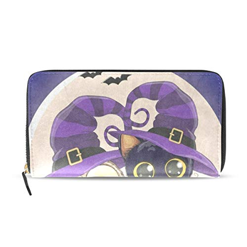 Womens Wallets Happy Halloween Cartoon Cat Owl Full Moon Leather Passport Wallet Coin Purse Girls Handbags