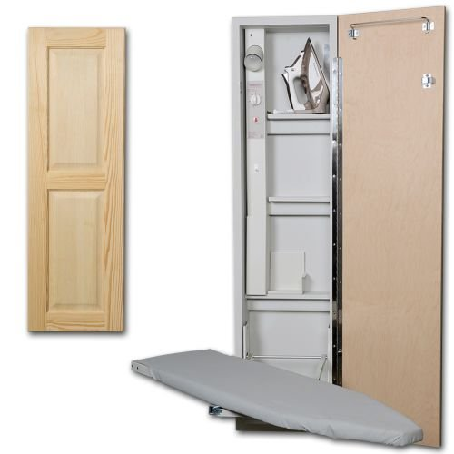 Premium Swivel Ironing Center Color (Door Style): Raised Pine Panel, Door Hinge: Right by Iron-A-Way LLC