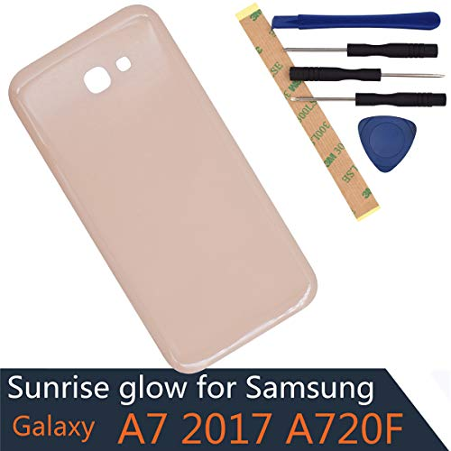 A720F Battery Back Cover Glass Panel Replacement for Samsung Galaxy A7 2017 Glass Battery Door Cover(with Adhesive) - Pink Cover Battery Door