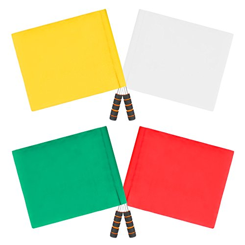 QPKUNG 4 pack Linesman Flags Bright Red Yellow White Green Waterproof Referee Flags for Soccer Football 16.1in×12.4in