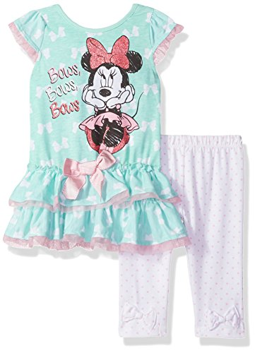 Disney Baby Girls' 2 Piece Minnie Mouse Bow Legging Set, Green, 24 Months