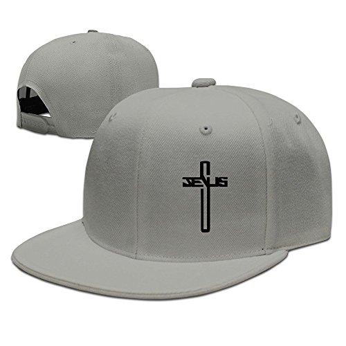 Casual Men Women Christian Jesus Cross Flat Ajustable Snapback Cap Ash