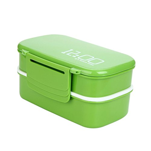 YJYdada 2 Tier Lunch Box PP Cute Meal Box Tableware Microwave Oven New (Green) (Table Coffee Sierra Outdoor)