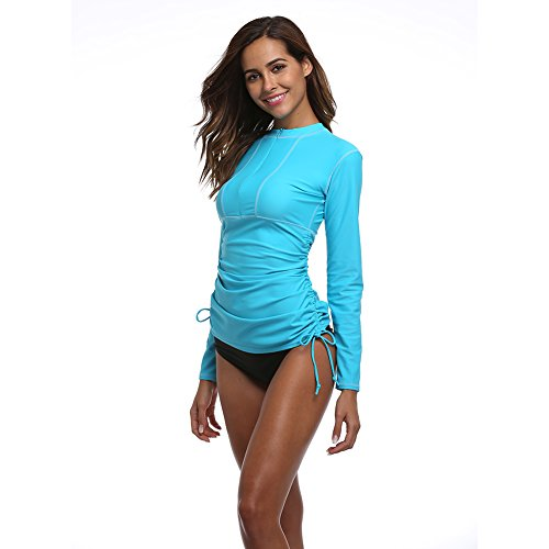 (Women's Long Sleeve Rash Guard Wetsuit Swimsuit Top UV Sun Protection (901 M, Blue))
