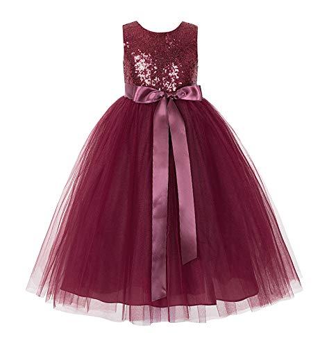 ekidsbridal Heart Cutout Sequin Flower Girl Dress Reception Dresses Evening Gown 172seq 2 Burgundy]()