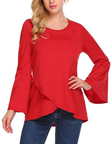 Zeagoo Women's Crew Neck Flare Sleeve Asymmetrical Hem Chiffon Blouse Shirt Red/XL