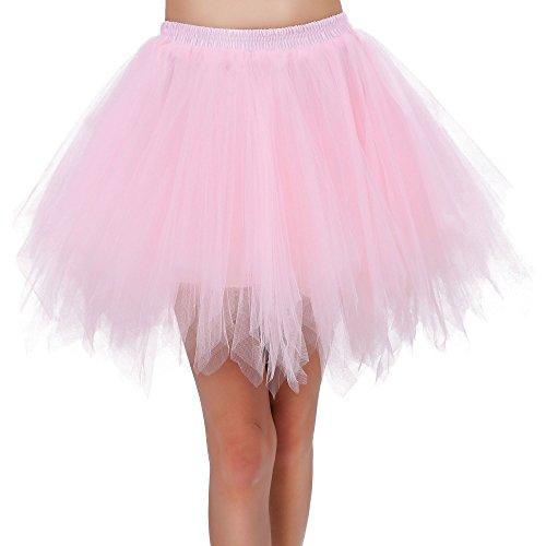 Pink Tulle Layered Tutu (Women's Layered Contrast Tulle Petticoat Ballet Tutu Skirt,Pink)