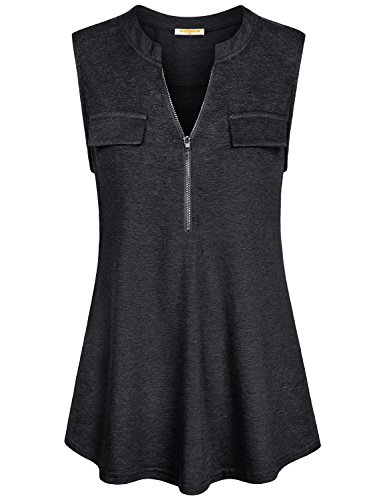 - Baikea Work Tank Tops for Women Office, Summer Black Ladies Sleeveless Shirt with Collar Elegant Blouse Zip up Notch Neck Tank Top Flare Trendy Boutique Clothing Black L