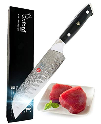 Santoku Chef's Knife 7 inch: Best Quality professional scalloped hollow...